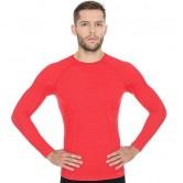 Brubeck Koszulka męska ACTIVE WOOL długi rękaw LS12820 (czerwony)