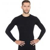 Brubeck Koszulka męska ACTIVE WOOL długi rękaw LS12820 (czarny)