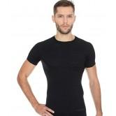 Brubeck Koszulka męska ACTIVE WOOL krótki rękaw SS11710 (czarny)