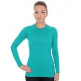 Brubeck Koszulka damska ACTIVE WOOL długi rękaw LS12810 (szmaragdowy)