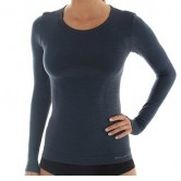 Koszulka damska COMFORT WOOL długi rękaw LS11610 (ciemny jeans)