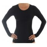 Brubeck Koszulka damska COMFORT WOOL długi rękaw LS11610 (czarny)