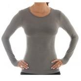 Brubeck Koszulka damska COMFORT WOOL długi rękaw LS11610 (szary)