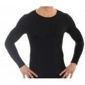 Brubeck Koszulka męska COMFORT WOOL długi rękaw LS11600 (czarny)