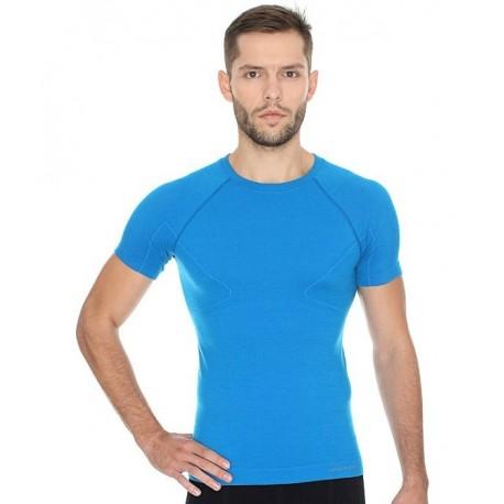 Brubeck Koszulka męska ACTIVE WOOL krótki rękaw SS11710 (niebieski)