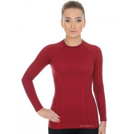 Brubeck Koszulka damska ACTIVE WOOL długi rękaw LS12810 (burgund)
