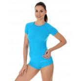 Brubeck Koszulka damska ACTIVE WOOL krótki rękaw SS11700 (jasnoniebieski)